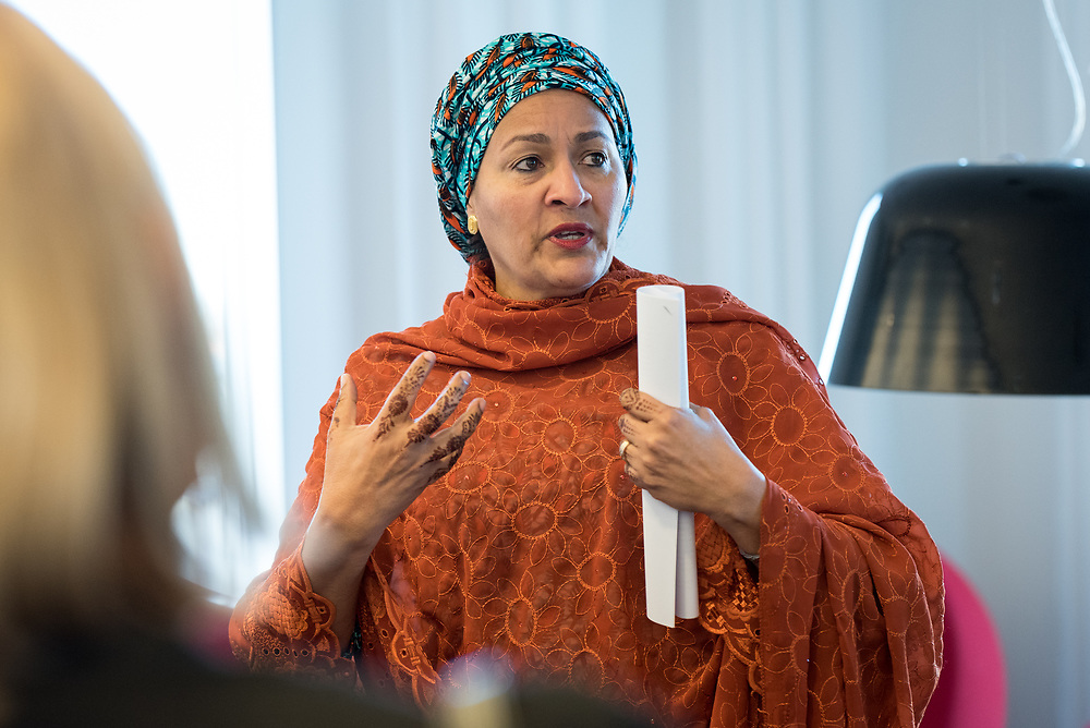 29 October 2018, Uppsala, Sweden: Amina Mohammed, Deputy Secretary General of the United Nations,  in conversation with representatives of the Church of Sweden and ACT Alliance.