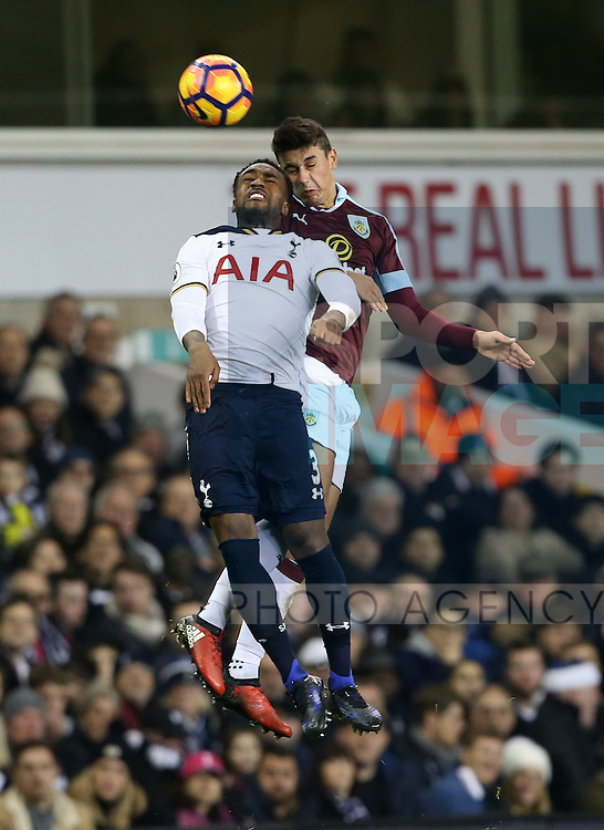 Tottenham's Danny Rose tussles with Burnley's Matthew Lowton during the Premier League match at White Hart Lane Stadium, London. Picture date December 18th, 2016 Pic David Klein/Sportimage
