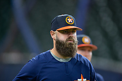 April 13, 2018 - Houston, TX, U.S. - HOUSTON, TX - APRIL 13: Houston Astros catcher Evan Gattis (11) on the field prior to a MLB game between the Houston Astros and the Texas Rangers on April 13, 2018 at Minute Maid Park in Houston, TX. (Photo by Juan DeLeon/Icon Sportswire) (Credit Image: © Juan Deleon/Icon SMI via ZUMA Press)