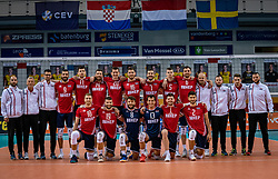 Team Croatia in action during the CEV Eurovolley 2021 Qualifiers between Sweden and Croatia at Topsporthall Omnisport on May 15, 2021 in Apeldoorn, Netherlands