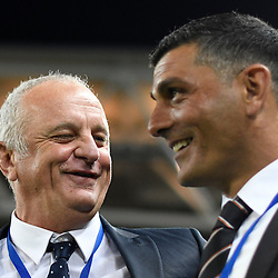 BRISBANE, AUSTRALIA - NOVEMBER 19: Sydney FC Coach Graham Arnold interacts with Brisbane Roar coach John Aloisi during the round 7 Hyundai A-League match between the Brisbane Roar and Sydney FC at Suncorp Stadium on November 19, 2016 in Brisbane, Australia. (Photo by Patrick Kearney/Brisbane Roar)