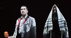 """© Licensed to London News Pictures. 17/12/2012. London, England. L-R: Paul Rhys as The Master, Tim McMullan as Pontius Pilate and Clive Mendus. Complicite/Simon McBurney return to the Barbican with the play """"The Master and Margarita"""" by Mikhail Bulgakov from 14 December 2012 - 19 January 2013. Directed by Simon McBurney with Tim McMullan as Pontius Pilate, Susan Lynch as Margarita, Richard Katz as Ivan Nikolayich Bezdomny and Paul Rhys as The Master. Photo credit: Bettina Strenske/LNP"""