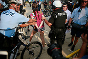 07252016 - Philadelphia, Pennsylvania, USA: Police arrest protesters who crossed police lines in civil disobedience as Bernie Sanders supporters stage a sit down strike at the entrance to the AT&T metro stop outside the Wells Fargo Center on the first day of the Democratic National Convention. (Jeremy Hogan/Polaris)