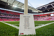general shot of the stadium and match programme during the FIFA World Cup Qualifier match between England and Slovakia at Wembley Stadium, London, England on 4 September 2017. Photo by Sebastian Frej.