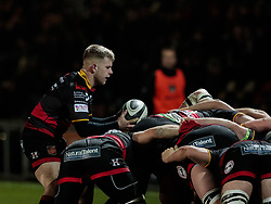 Dragons' Dan Babos puts in at the scrum<br /> <br /> Photographer Simon King/Replay Images<br /> <br /> Guinness Pro14 Round 10 - Dragons v Ulster - Friday 1st December 2017 - Rodney Parade - Newport<br /> <br /> World Copyright © 2017 Replay Images. All rights reserved. info@replayimages.co.uk - www.replayimages.co.uk
