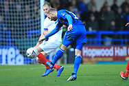 Matty Done shoots during the The FA Cup 2nd round match between Rochdale and Portsmouth at Spotland, Rochdale, England on 2 December 2018.