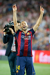 30.05.2015, Camp Nou, Barcelona, ESP, Copa del Rey, Athletic Club Bilbao vs FC Barcelona, Finale, im Bild FC Barcelona's Javier Mascherano celebrates the victory // during the final match of spanish king's cup between Athletic Club Bilbao and Barcelona FC at Camp Nou in Barcelona, Spain on 2015/05/30. EXPA Pictures © 2015, PhotoCredit: EXPA/ Alterphotos/ Acero<br /> <br /> *****ATTENTION - OUT of ESP, SUI*****