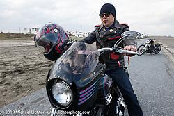 Sign painter Rio Iwai of Rio Studios on his 1994 Harley-Davidson FXLR on the SureShot ride around Chiba, Japan. Saturday, December 8, 2018. Photography ©2018 Michael Lichter.