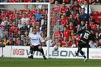 Photo: Pete Lorence.<br />Nottingham Forest v Scunthorpe United. Coca Cola League 1. 07/10/2006.<br />Scunthorpe's Cleveland Taylor scoring the opening goal of the match.