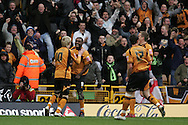 Coca Cola championship, Wolverhampton Wanderers v Cardiff City on Sunday 22nd Feb 2009 . pic by Andrew Orchard, Andrew Orchard sports photography, Wolves players celebrate the opening goal scored by Sylvan Ebanks-Blake (9)