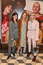 Sydney Lima, Tess Ward and Becky Tong at a cocktail supper hosted by BOTTLETOP co-founders Cameron Saul & Oliver Wayman, along with Arizona Muse, Richard Curtis & Livia Firth to launch the #TOGETHERBAND campaign at The Quadrant Arcade on April 24, 2019 in London, England.<br /> <br /> ***For fees please contact us prior to publication***