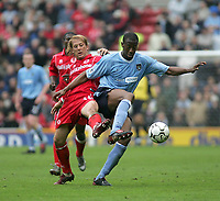 Photo. Andrew Unwin, Digitalsport.<br /> NORWAY ONLY<br /> <br /> Middlesbrough v Manchester City, Barclaycard Premier League, Riverside Stadium, Middlesbrough 08/05/2004.<br /> Manchester City's Shaun Wright-Phillips (r) shields the ball from Middlesbrough's Gaizka Mendieta (l).