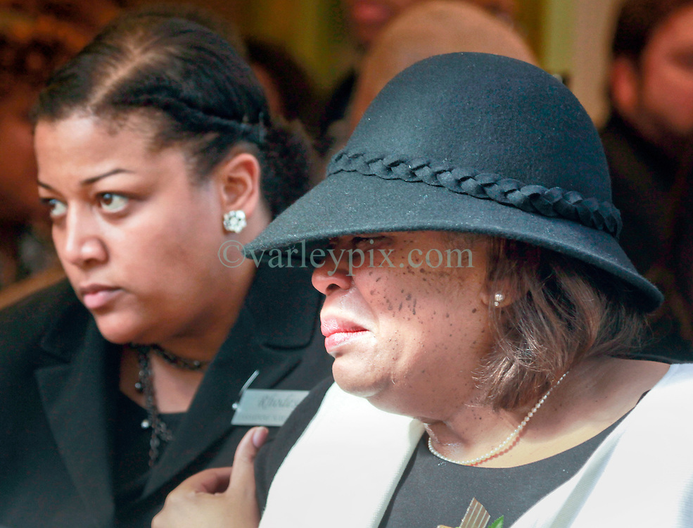 20 November 2015. Orpheum Theater, New Orleans, Louisiana. <br /> Memorial service for musician Allen Toussaint. <br /> Family members leave the service.<br /> Photo; Charlie Varley/varleypix.com
