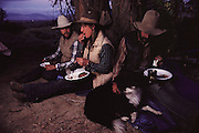 Dinner on the Mount Whitney pack trip - cowboys drive horse and mules to lower pasture. Route 395: Eastern Sierra Nevada Mountains of California.