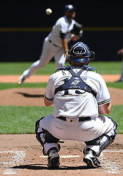 June 13, 2018 - Milwaukee, WI, U.S. - MILWAUKEE, WI - JUNE 13: Milwaukee Brewers Catcher Erik Kratz (15) awaits a warm-up throw during a MLB game between the Milwaukee Brewers and Chicago Cubs on June 13, 2018 at Miller Park in Milwaukee, WI. The Brewers defeated the Cubs 1-0.(Photo by Nick Wosika/Icon Sportswire) (Credit Image: © Nick Wosika/Icon SMI via ZUMA Press)