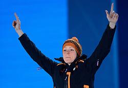 17-02-2014 ALGEMEEN: OLYMPIC GAMES HULDIGING: SOTSJI<br /> Huldiging van de 1500 meter op Medal Plaza /  Jorien ter Mors<br /> ©2014-FotoHoogendoorn.nl