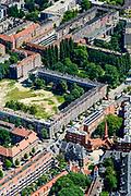 Nederland, Noord-Holland, Amsterdam, 29-06-2018; Spaarndammerbuurt, met woningwet-woningen begin 20e eeuw in stijl Amsterdamse School. Architect Michel de Klerk in Amsterdam West. Het meest bekend is het expressionistische woningblok met 'Het Schip' (met de markante toren), nu deels ook museum.<br /> Spaarndammerbuurt, with residential block in the early 20th century style Amsterdam School.<br /> <br /> luchtfoto (toeslag op standard tarieven);<br /> aerial photo (additional fee required);<br /> copyright foto/photo Siebe Swart