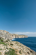 Typical limestone cliffs near the Blue Grotto - from Wied iz-Zurrieq