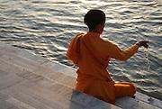 India, Pilgrims bathe in the Ganges River