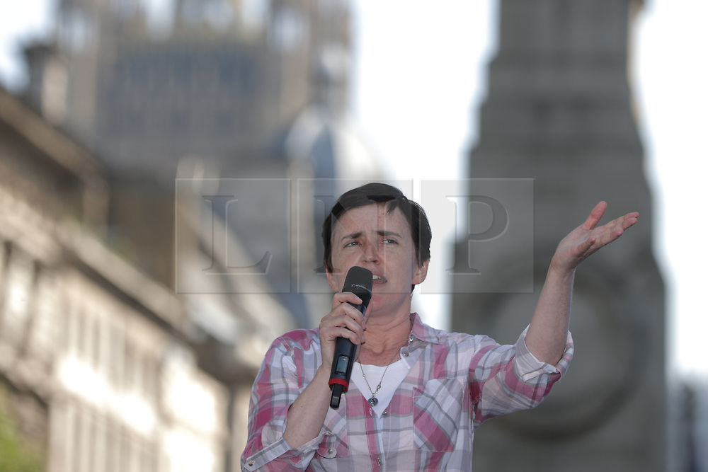 """© Licensed to London News Pictures . 06/05/2018. London, UK. ANNE MARIE WATERS speaks at the demo. Supporters of alt-right and anti-Islam groups, including Generation Identity and the Democratic Football Lads Alliance, demonstrate at Whitehall in Westminster, opposed by anti-fascists. Speakers billed in the """"Day for Freedom"""" include former EDL leader Tommy Robinson, Milo Yiannopoulos, youtuber Count Dankula (Markus Meechan), For Britain leader Anne Marie Waters, UKIP leader Gerard Batten, Breitbart's Raheem Kassam and Lauren Southern. The event was originally planned as a march to Twitter's HQ in protest at their banning of Robinson and the Home Office's ban on Martin Sellner and Brittany Pettibone entering the UK, in what protesters describe as limits being imposed on free speech. Photo credit: Joel Goodman/LNP"""