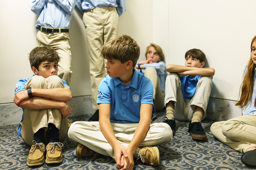 Washington, D.C. - October 07, 2016: Members of the Hyperbolics sit for feedback from coaches Bob Brown and Katy Smith after what they thought was a less than impressive presentation with Environment and Public Works Committee Staff member Tom Fox<br /> <br /> The Hyperbolics are a First Lego League team based out of Sterling School in Greenville SC, who made a trip to DC ask government officials to ban lead wheel weights Friday October 7, 2016.<br /> <br /> <br /> CREDIT: Matt Roth for Earthjustice