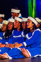 Tamarii Mataiea choir performing during in the Winners Showcase, the final night of the Heiva i Tahiti (July cultural festival), Place Toata, Papeete, Tahiti, French Polynesia.