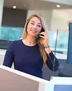 Woman talking on business call