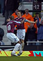 Photo: Olly Greenwood.<br />West Ham United v Tottenham Hotspur. The Barclays Premiership. 04/03/2007. West Ham's Mark Noble celebrates scoringates scoring with Marlon Harewood