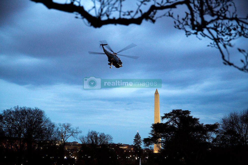 Marine One departs the South Lawn of the White House following President Barack Obama's trip to Birmingham, Ala., March 26, 2015. (Official White House Photo by Pete Souza)<br /> <br /> This official White House photograph is being made available only for publication by news organizations and/or for personal use printing by the subject(s) of the photograph. The photograph may not be manipulated in any way and may not be used in commercial or political materials, advertisements, emails, products, promotions that in any way suggests approval or endorsement of the President, the First Family, or the White House.