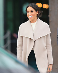 Prince Harry and his fiancee, Meghan Markle, leave the Titanic Building in Belfast this afternoon during their visit to Northern Ireland before their wedding.<br /><br />23 March 2018.<br /><br />Please byline: Vantagenews.com