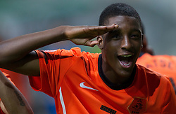Riechedly Bazoer of Netherlands celebrates after winning the UEFA European Under-17 Championship Semifinal match between Netherlands and Georgia on May 13, 2012 in SRC Stozice, Ljubljana, Slovenia. Netherlands defeated Georgia 2-0. (Photo by Vid Ponikvar / Sportida.com)