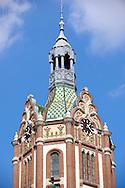 Art Nouveau (szecessziós Stilus) style town hall (1912) with Zolnay ceramic tiles , Kiskunfélegyháza, Southern Hungary