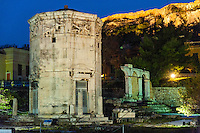 Athens, Greece.  Ancient Agora of Athens with Tower of the Winds.