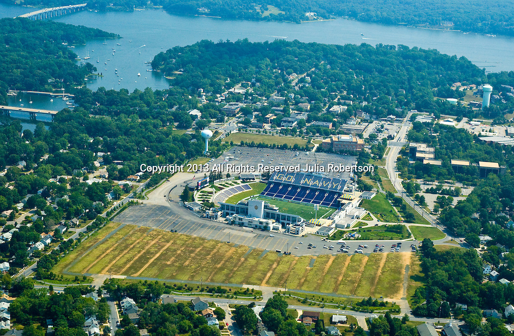 Aerial view of the Jack Stephens Field at Navy-Marine Corps Memorial Stadium at the United States Naval Academy, Annapolis, Maryland,