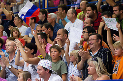 Supporters of Slovenia during basketball match between National teams of Slovenia and Spain in Qualifying Round of U20 Men European Championship Slovenia 2012, on July 18, 2012 in Domzale, Slovenia. Slovenia defeated Spain 70-63. (Photo by Vid Ponikvar / Sportida.com)