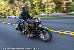 David Cava riding his 1921 Harley-Davidson during Stage 16 (142 miles) of the Motorcycle Cannonball Cross-Country Endurance Run, which on this day ran from Yakima to Tacoma, WA, USA. Sunday, September 21, 2014.  Photography ©2014 Michael Lichter.