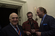 Lord Weidenfeld, Ralph Fiennes and Ed Victor. Tina Brown CBE and Birthday party hosted by Sally Greene. Cheyne Walk. London 21 November 2000. © Copyright Photograph by Dafydd Jones 66 Stockwell Park Rd. London SW9 0DA Tel 020 7733 0108 www.dafjones.com