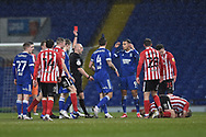 Ipswich Town forward Kayden Jackson (9) gets a red card  during the EFL Sky Bet League 1 match between Ipswich Town and Sunderland at Portman Road, Ipswich, England on 26 January 2021.