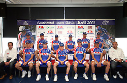 Riders at introduction of cycling team Adria Mobil 2008, on April 9, 2008, Ljubljana, Slovenia. (Photo by Vid Ponikvar / Sportal Images)/ Sportida)