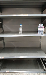 © Licensed to London News Pictures. 21/09/2021. London, UK. Empty shelves of sparkling bottled water in Morrisons, north London, Fears of food shortages grow after two of the UK's biggest Carbon Dioxide (CO2) producers halted production last week due to soaring gas prices. UK food producers and supermarkets are warning that shoppers are likely to face food shortage caused by a lack of gas could hit this week. Photo credit: Dinendra Haria/LNP