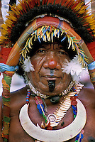 Tribesman in traditional dress in Papua New Guinea. Photograph by Terry Fincher