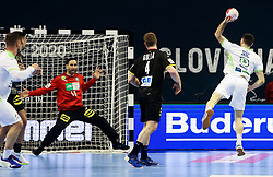Blaz Janc of Slovenia during handball match between National Teams of Germany and Slovenia at Day 2 of IHF Men's Tokyo Olympic  Qualification tournament, on March 13, 2021 in Max-Schmeling-Halle, Berlin, Germany. Photo by Vid Ponikvar / Sportida