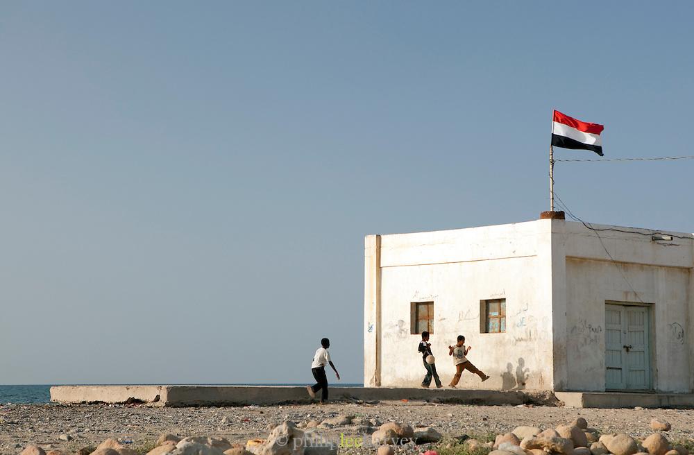 Boys playing soccer in Hadibu, Socotra, Yemen