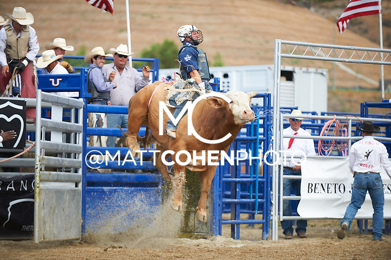 Bull rider Corey Navarre of Weatherford, OK rides 0205/9 Deerango at the Rancho Mission Viejo Rodeo in San Juan Capistrano, CA.  <br /> <br /> <br /> UNEDITED LOW-RES PREVIEW<br /> <br /> <br /> File shown may be an unedited low resolution version used as a proof only. All prints are 100% guaranteed for quality. Sizes 8x10+ come with a version for personal social media. I am currently not selling downloads for commercial/brand use.