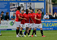 Football - 2021 / 2022 Emirates FA Cup - First Round Qualifying - Bootle vs. FC United of Manchester - Berry Street Garage Stadium - Saturday 4th September 2021<br /> <br /> Cedric Main of FC United of Manchester celebrates with his team mates after he scored his second to put his side 2-0 ahead, at the Berry Street Garage Stadium.<br /> <br /> COLORSPORT/Alan Martin