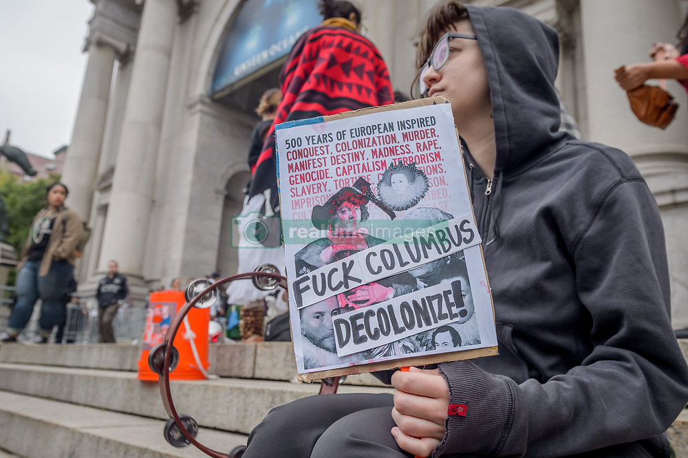 """October 8, 2018 - New York, New York, United States - Activists from New York's Indigenous and Black communities, along with decolonial advocates led the 3rd annual """"Anti-Columbus Day Tour"""" at the American Museum of Natural History on October 8, 2018; the groups are demanding that Mayor de Blasio and members of the New York City Council join the growing list of cities in the U.S. that have renamed Columbus Day as Indigenous Peoples' Day and for the removal of Theodore Roosevelt's statue. (Credit Image: © Erik Mcgregor/Pacific Press via ZUMA Wire)"""