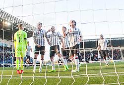 Dunfermline's Kallum Higginbotham cele scoring their penalty. Falkirk 1 v 1 Dunfermline, Scottish Championship game played 4/5/2017 at The Falkirk Stadium.