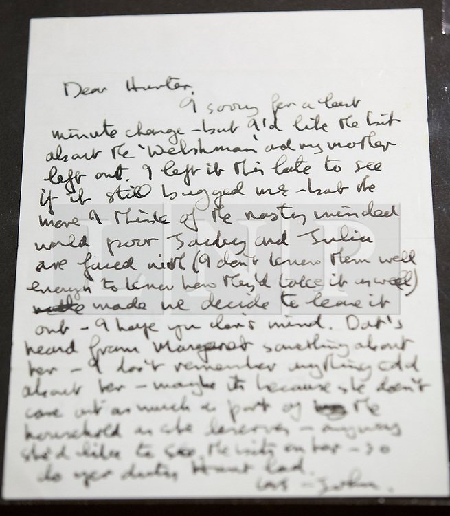 """© Licensed to London News Pictures. 22/05/2013. London, UK. A letter from John Lennon to acclaimed Beatles biographer Hunter Davies is seen after being presented to the British Library Mr Davies in London today (22/05/2013). The manuscript, along with others and correspondence between John Lennon and Mr Davies, have been donated to the library under the """"lifetime giving"""" scheme. Photo credit: Matt Cetti-Roberts/LNPPhoto credit: Matt Cetti-Roberts/LNP"""