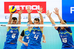 Mitja Gasparini of Slovenia, Jan Kozamernik of Slovenia and Klemen Cebulj of Slovenia during volleyball match between Slovenia and Chile in Group A of FIVB Volleyball Challenger Cup Men, on July 3, 2019 in Arena Stozice, Ljubljana, Slovenia. Photo by Matic Klansek Velej / Sportida