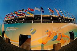 01-06-2012 VOLLEYBAL: EK BEACHVOLLEYBAL: SCHEVENINGEN<br /> Avondzonnetje bij EK Beachvolleybal The Hague beach Stadium, creatief illustratief zon, sunset<br /> ©2012-FotoHoogendoorn.nl